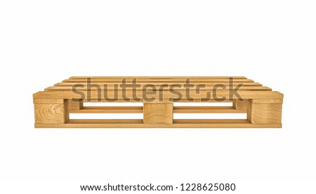wooden pallet on white background 3d rendering image