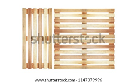wooden pallet pattern isolated on white background in top view