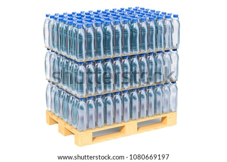 Wooden pallet with water bottles wrapped in the shrink film, 3D rendering isolated on white background