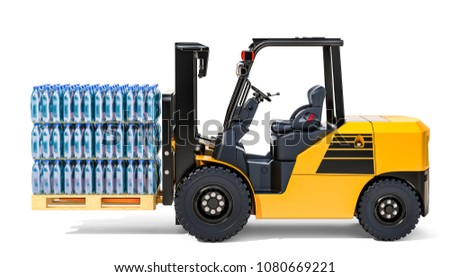 Wooden pallet with water bottles wrapped in the shrink film on the forklift truck 3D rendering