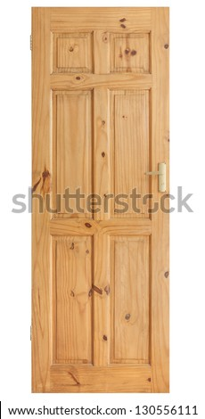 Wooden panel door with brass handle isolated on with with clipping path - stock photo
