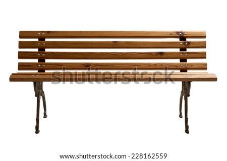 Wooden Park Bench Isolated on White Background