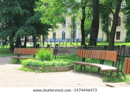 Wooden park benchs, nobody, lonely