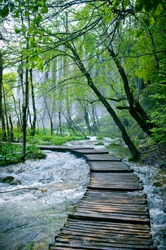 Wooden path and waterfall in Plitvice National Park, Croatia .  Wooden bridge along the river, flood, natural disaster