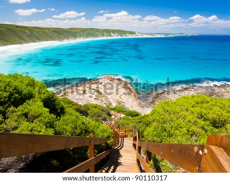 Wooden path at Observatory Point Great Ocean Drive Western Australia - stock photo