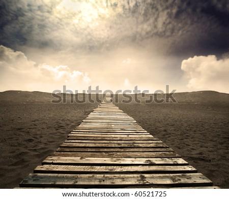 wooden path on a desert