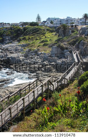 Wooden  pathway along coast