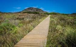 Wooden pathway in Natural Park of Calblanque, Cartagena (Murcia)