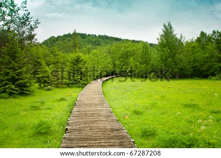 Wooden pathway through the falls at plitvice lakes in croatia