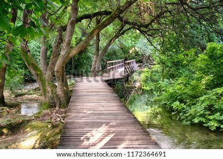 Wooden pathway trough the dense forrest near Krka national park waterfalls #1172364691