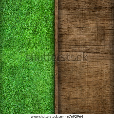 wooden pattern mix with green grass background