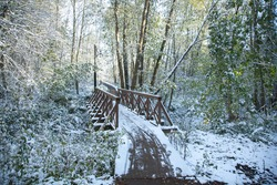 Wooden pedestrian bridge over the river in the city of Zelenograd. Green leaves and grass in the snow. The first snow. The weather is nice.