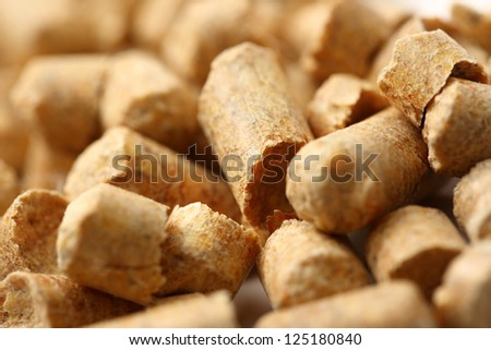 Wooden pellets closeup
