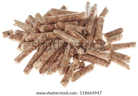 Wooden Pellets Isolated on White Background