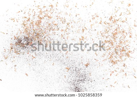 Wooden pencil shavings from sharpener isolated on white background, top view