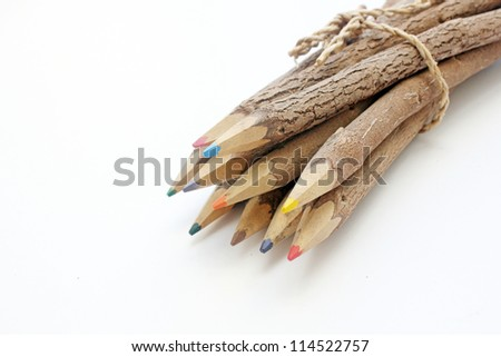 Wooden pencils isolated - stock photo
