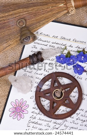wooden pentacle with incense burning - with hand written book of shadows and flowers - spring equinox ritual