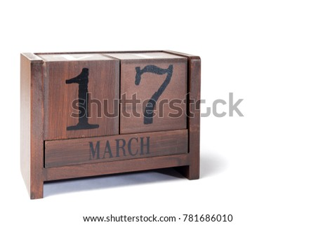 Wooden Perpetual Calendar set to March 17th