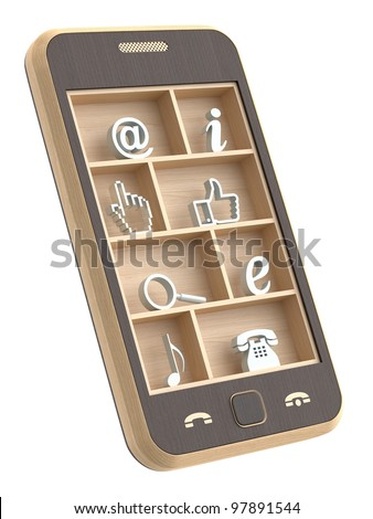 Wooden phone concept - stock photo