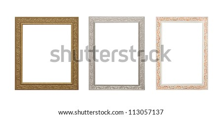 Wooden photo frame collection isolated on white background