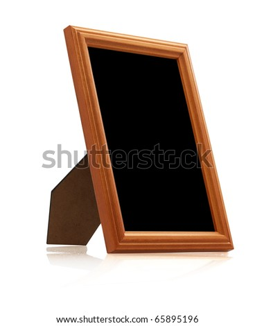 wooden photo frame on white background with reflection