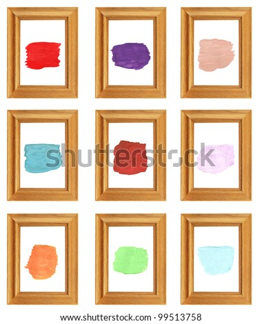 wooden photo frame,palette of colors watercolor brush strokes