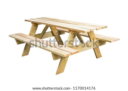 Wooden picnic table isolated on white background