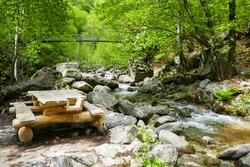 Wooden picnic table with benches along a mountain stream in the shady forests of the Verzasca valley (canton of Ticino, Switzerland).