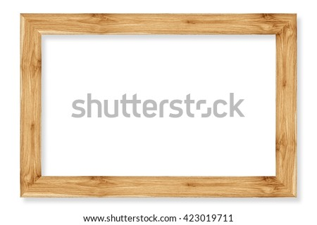 wooden picture frame isolated on white background