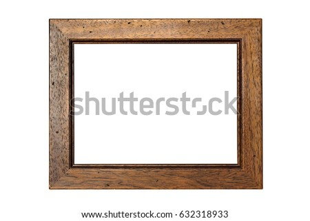 Wooden picture frame isolated on white background with clipping path #632318933