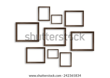 Wooden picture frames on white background