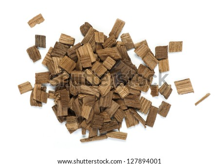 Wooden pieces of oak for wine industry. White isolated