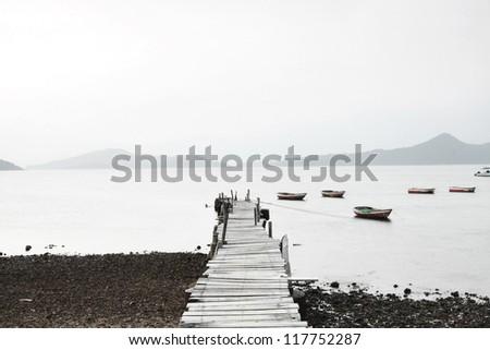Wooden pier along the coast