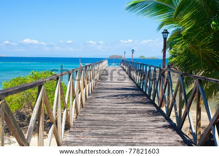 Wooden pier at the former Prison island on the world heritage site at Isla Coiba Panama