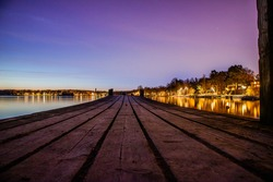 Wooden pier in a sunset.