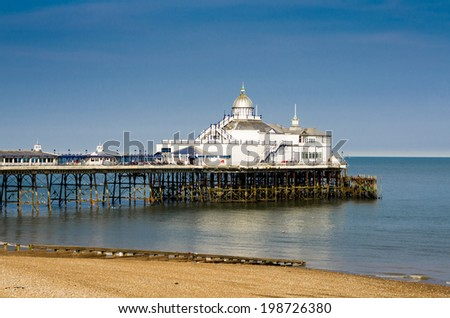 Wooden pier in Eastbourne, southern part of England