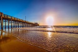 Wooden pier in Newport Beach, California