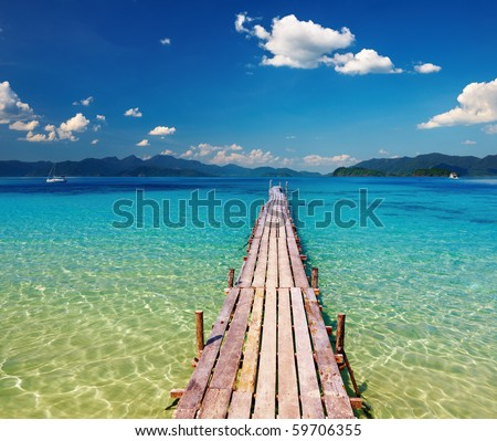 Wooden pier in tropical paradise, Thailand