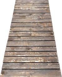 Wooden pier isolated on white background. Close-up.