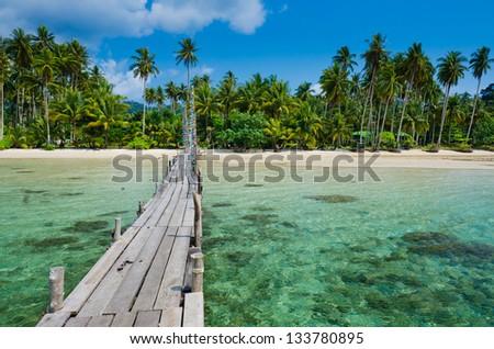 Wooden pier on the beach of Koh Kood island