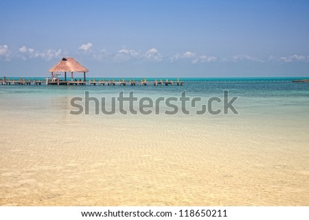 wooden pier on the Isla Contoy, Mexico