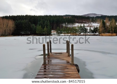 wooden pier over the frozen lake in the forest