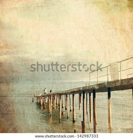 wooden pier   retro style...