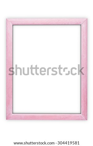 Wooden pink frame isolated on white