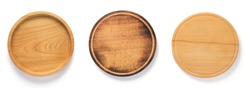 wooden pizza or bread cutting board at white background, top view