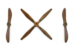 Wooden plane propellers with 4 and 2 blades isolated on white background.