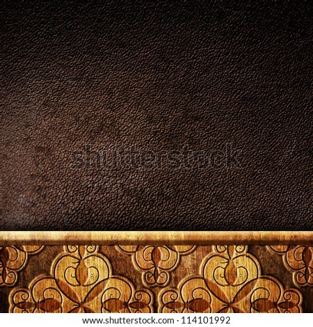wooden plank with leather background
