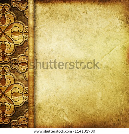 wooden plank with old paper background
