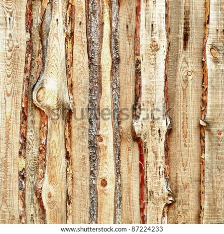 Wooden planks and slabs fense