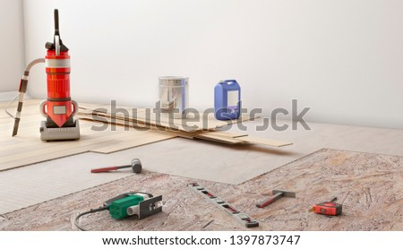 wooden planks floor instalation 3d illustration